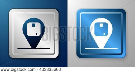 White Location With Cardboard Box Icon Isolated On Blue And Grey Background. Delivery Services, Logi