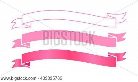 Ribbon Label Pink For Decoration Banner, Ribbon Sticker Frame For Tag Label Decorative, Ribbon Badge