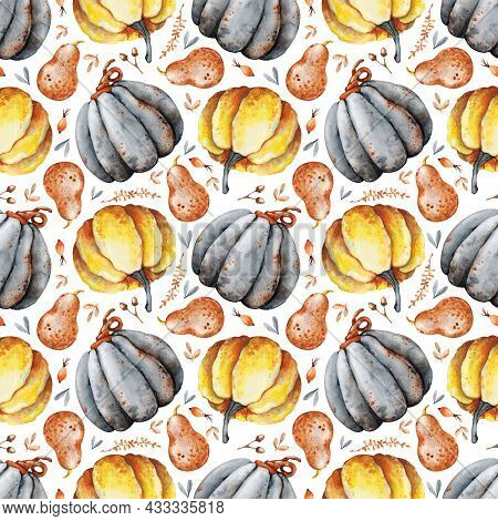 Autumn Bouquet Of Pumpkins, Sunflower, Berries, Fallen Leaves. Seamless Pattern With Flower Arrangem