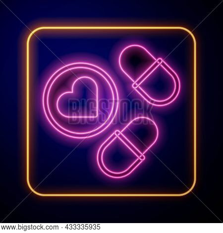 Glowing Neon Medicine Pill Or Tablet Icon Isolated On Black Background. Capsule Pill And Drug Sign.