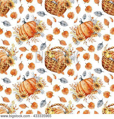 Autumn Bouquet Of Pumpkins, Sunflower, Berries, Fallen Leaves, Basket. Seamless Pattern With Flower