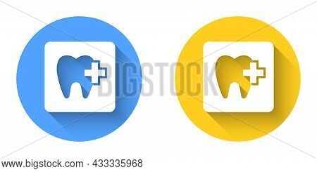 White Dental Clinic Location Icon Isolated With Long Shadow Background. Circle Button. Vector