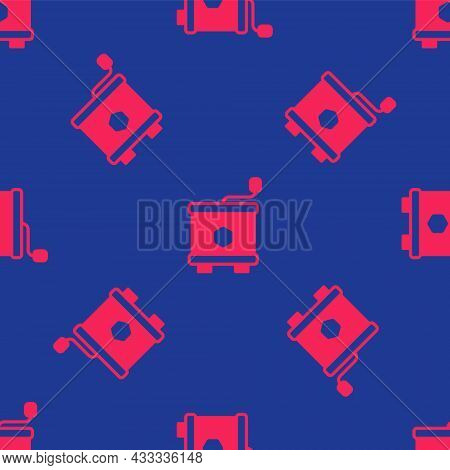 Red Honey Extractor Icon Isolated Seamless Pattern On Blue Background. Mechanical Device For Honey E
