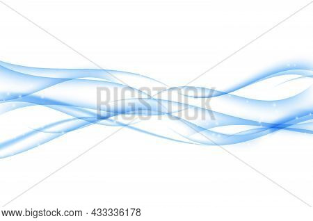 Abstract Blue Wave Set On White Background. Vector Illustration