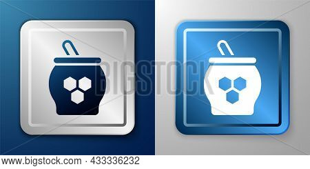 White Jar Of Honey And Honey Dipper Stick Icon Isolated On Blue And Grey Background. Food Bank. Swee