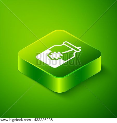 Isometric Jar Of Honey And Honey Dipper Stick Icon Isolated On Green Background. Food Bank. Sweet Na