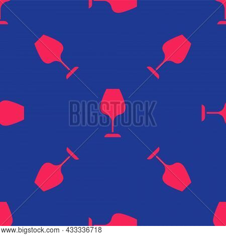 Red Wine Glass Icon Isolated Seamless Pattern On Blue Background. Wineglass Sign. Vector