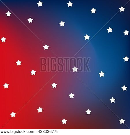 Red And Blue Flag With Stars. American Flag