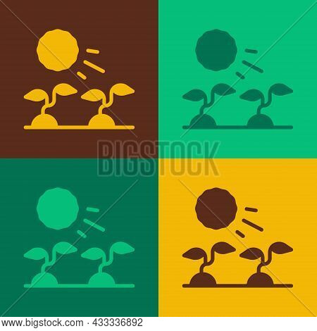 Pop Art Plant Sprouts Grow In The Sun Icon Isolated On Color Background. Seedling Concept. Vector