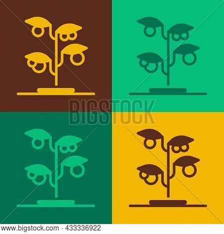 Pop Art Sprout Icon Isolated On Color Background. Seed And Seedling. Leaves Sign. Leaf Nature. Vecto