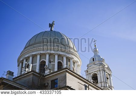 Close-up View Of The White Aerial Domes Of The Catherine Church In St.petersburg. Architecture And B