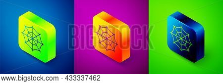 Isometric Spider Web Icon Isolated On Blue, Purple And Green Background. Cobweb Sign. Happy Hallowee