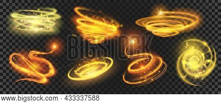 Shiny Gold Magic Spirals And Circles With Sparkle Dust. Glow Glitter Swirls. Shooting Star With Moti