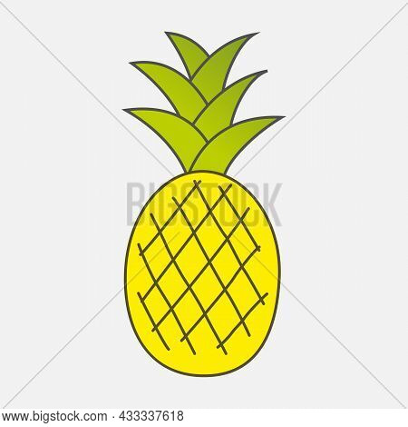 Colorful Drawn Ripe Yellow Pineapple With Green Leaves