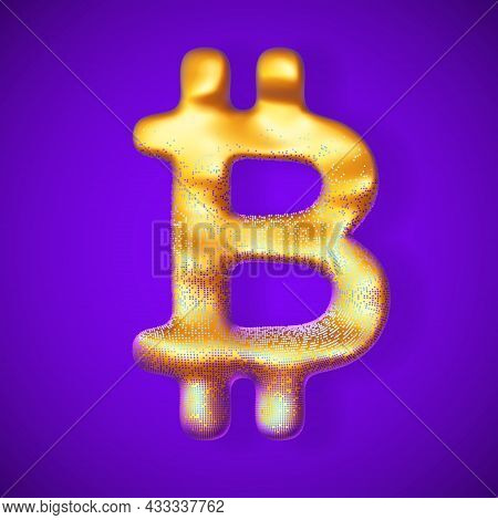 Golden 3d Bitcoin Logo With Pixels On Surface On Blue Background. Concept Of Growing Profit From Btc