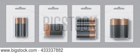 Realistic Alkaline Battery Size Packages Mockup Design. Black And Gold Metallic Electric Batteries I