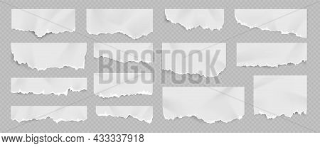 Realistic Torn And Ripped White Paper Sheet With Folds. Notebook Page With Scrap Edge. Rip Blank Doc