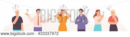 Group Of Thinking, Indecisive And Confused Flat People With Questions. Smart Characters Team Solve P