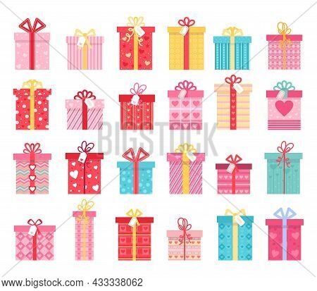 Pink Flat Gift Boxes For Valentines Day And Wedding Presents. Love Gift Box With Ribbon Bows And Hea
