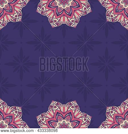 Seamless Border Pattern With Red And Beige Mandalas On Purple Background. Mehndi Lace Borders. Endle