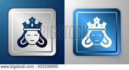 White Princess Or Queen Wearing Her Crown Icon Isolated On Blue And Grey Background. Medieval Lady.
