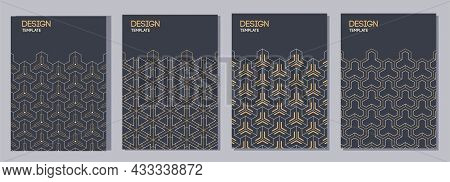 Set Of Flyers, Posters, Banners, Placards, Brochure Design Templates A6 Size With Hexagonal Ornament