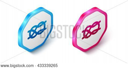 Isometric Nautical Rope Knots Icon Isolated On White Background. Rope Tied In A Knot. Hexagon Button