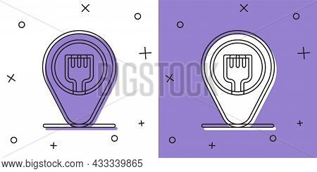 Set Cafe And Restaurant Location Icon Isolated On White And Purple Background. Fork Eatery Sign Insi