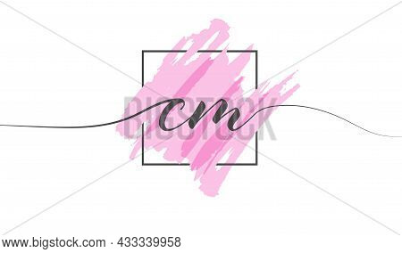 Calligraphic Lowercase Letters Cm In A Single Line On A Colored Background In A Frame. Vector Illust