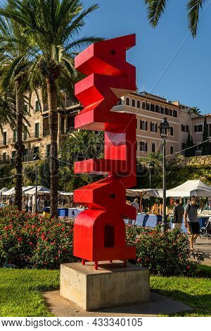 Palma De Mallorca, Spain; September 10 2021: Logo In Red Letters Of The City Of Palma De Mallorca On