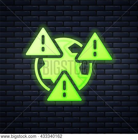 Glowing Neon Planet Earth Symbol With Exclamation Mark Icon Isolated On Brick Wall Background. Globa