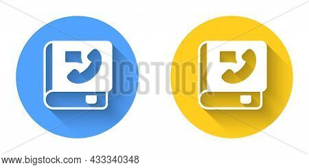 White Phone Book Icon Isolated With Long Shadow Background. Address Book. Telephone Directory. Circl