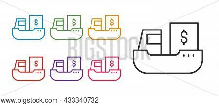 Set Line Cargo Ship With Boxes Delivery Service Icon Isolated On White Background. Delivery, Transpo
