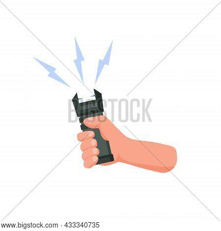 Hand Hold Electric Shocker. Self-defense And A Stun Gun. A Taser With Sparks. Flat Cartoon Illustrat