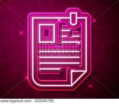 Glowing Neon Line Resume Icon Isolated On Red Background. Cv Application. Searching Professional Sta