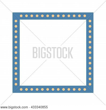 Square Colorful Blue Frame With Light Bulbs. Vector Illustration