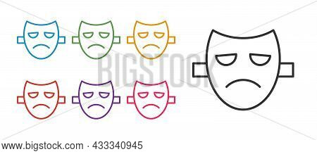 Set Line Drama Theatrical Mask Icon Isolated On White Background. Set Icons Colorful. Vector
