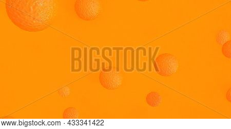 Abstract Orange Background With Dynamic 3D Spheres. Orange And Yellow Balloons