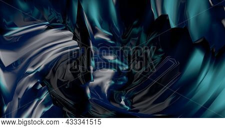 Abstract Black Background With Dynamic Blue 3D Lines. Blue And Black Lines.