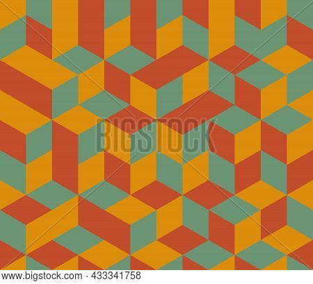 Abstract Background Seamless Geometric Pattern. Cube Shape, Diamond Shape. Red Orange Green Color. S