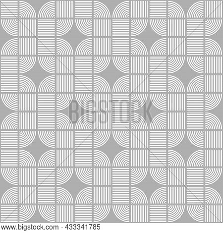 Seamless Square Pattern. Straight Lines And White Curves. Gray Background. Texture Design For Textil