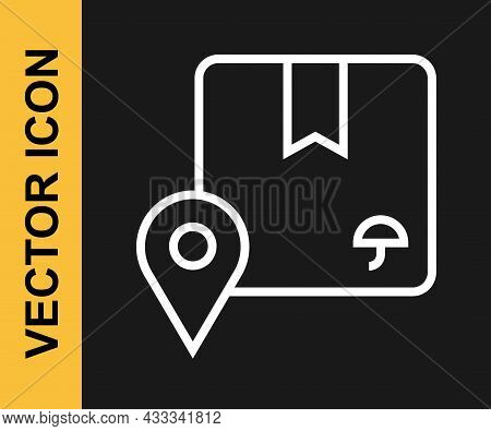 White Line Location With Cardboard Box Icon Isolated On Black Background. Delivery Services, Logisti