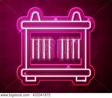 Glowing Neon Line Container Icon Isolated On Red Background. Crane Lifts A Container With Cargo. Vec