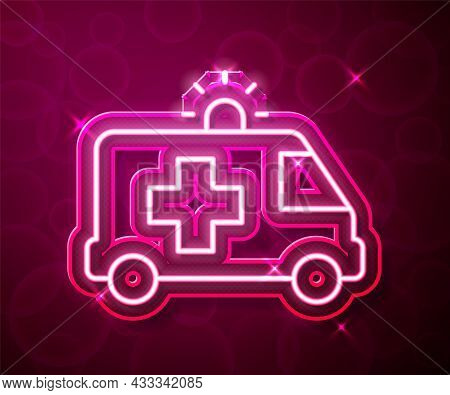 Glowing Neon Line Ambulance And Emergency Car Icon Isolated On Red Background. Ambulance Vehicle Med