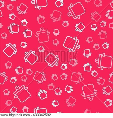 White Line Cooking Pot Icon Isolated Seamless Pattern On Red Background. Boil Or Stew Food Symbol. V