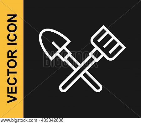 White Line Shovel And Rake Icon Isolated On Black Background. Tool For Horticulture, Agriculture, Ga