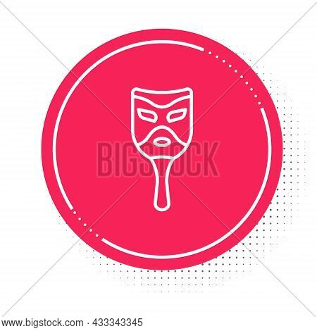 White Line Carnival Mask Icon Isolated On White Background. Masquerade Party Mask. Red Circle Button