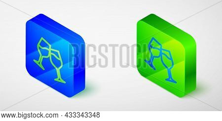 Isometric Line Wine Glass Icon Isolated Grey Background. Wineglass Sign. Blue And Green Square Butto
