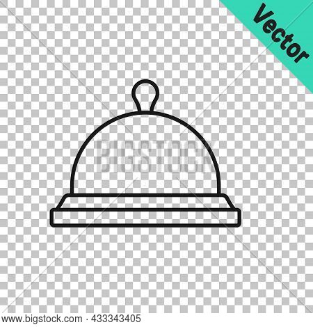 Black Line Covered With A Tray Of Food Icon Isolated On Transparent Background. Tray And Lid Sign. R