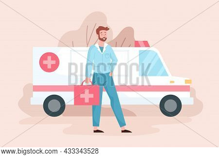 Ambulance Doctor Concept. Therapist Holds First Aid Kit In His Hands And Stands Next To Ambulance. M